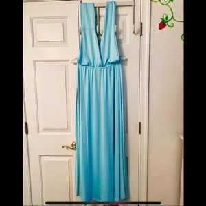 Light Blue Maxi Wrap Dress